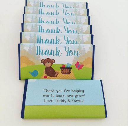 Teddy Bear's Picnic Chocolate Bars | Personalised Teddy Bears Picnic Party Favours Chocolates for a teddy bear party theme.  Click here for details on website and for more matching party stationery from Print & Party.