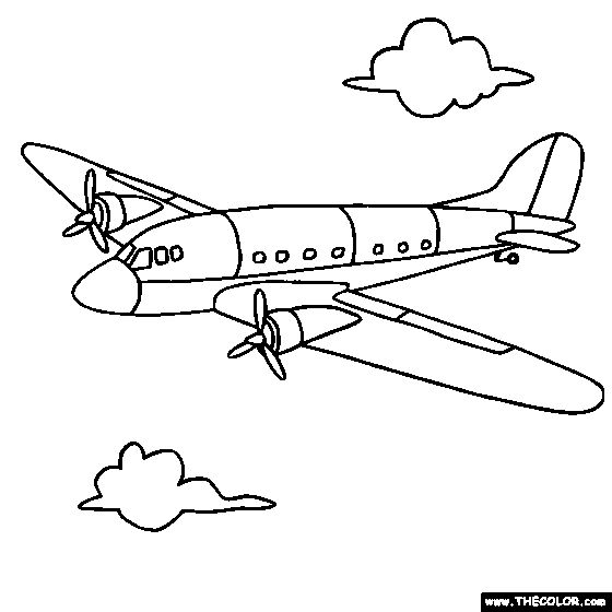 Propeller Plane Coloring Page