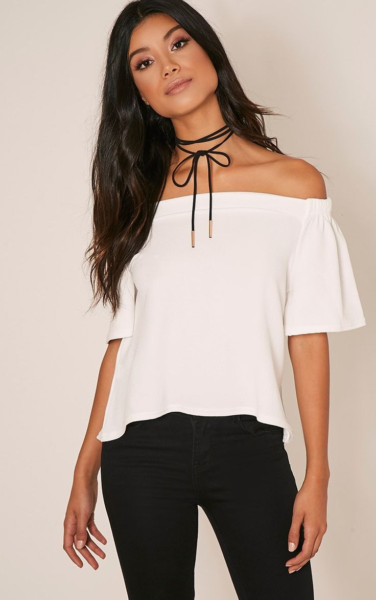 White Crepe Bardot Top Up your basics game and work ultra feminine style vibes in bardot shoulde...
