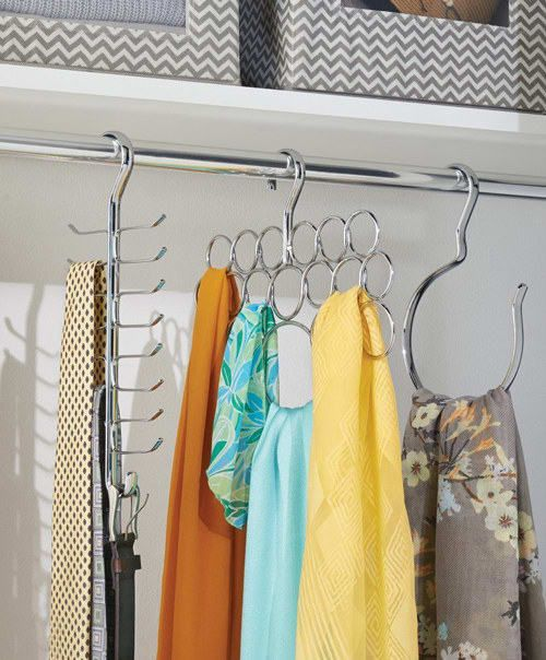 Bring some order to your scarves and shawls with a handy scarf hanger.