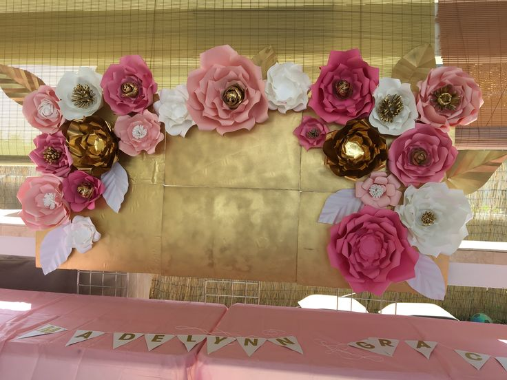 """Paper Flowers BabyShower Candy / Cake or photo booth backdrop Pink , White and Gold 10""""x5"""""""