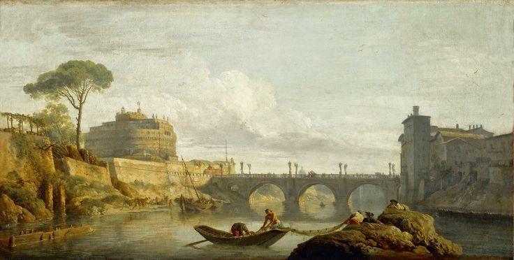 Claude-Joseph Vernet - Bridge and Chateau Sant Angelo in Rome [1745]   #18th #boat #Classic #Claude-Joseph #Vernet #Painting #River