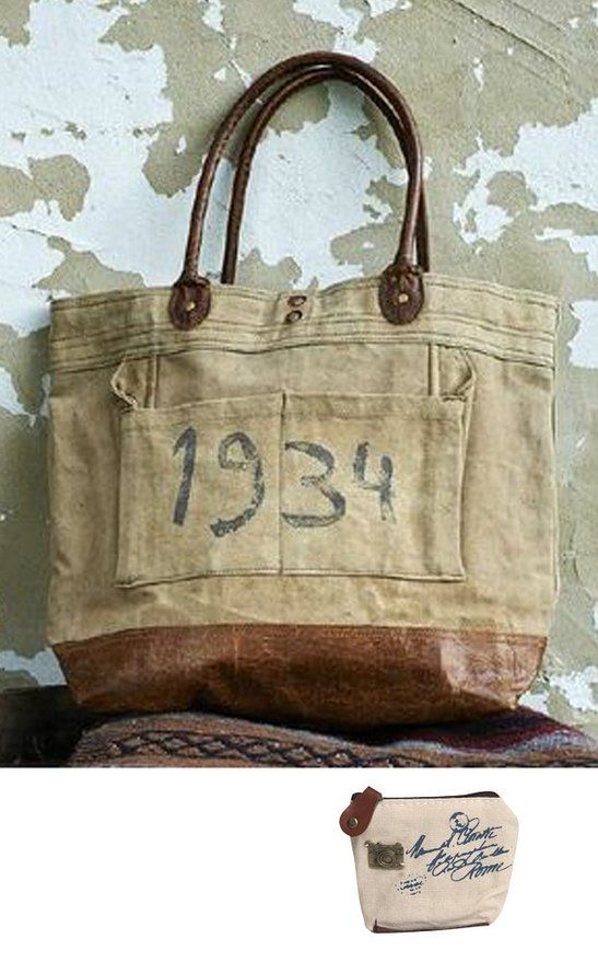 Mona B Vintage 1934 Stamped Upcycled Canvas Shoulder Bag M-1872 with Coin Purse