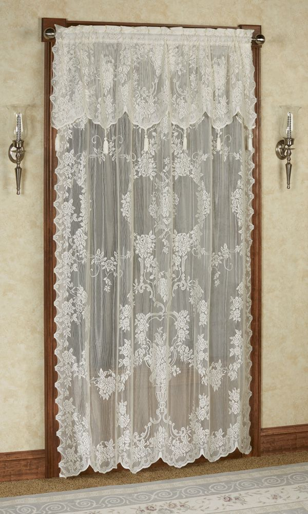 The Large Scale Rose Pattern On The Carly Lace Curtain Panel With