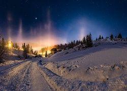 Śnieg, Noc, Poświata, Droga