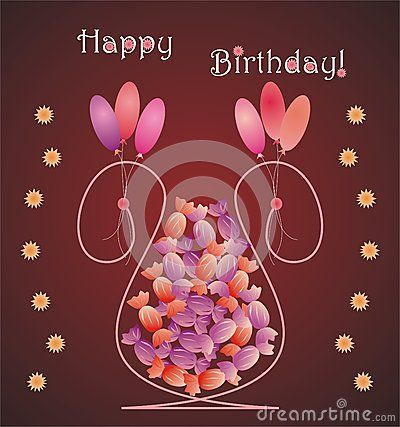 Flower vase shaped birthday card with candies, balloons and Happy Birthday message
