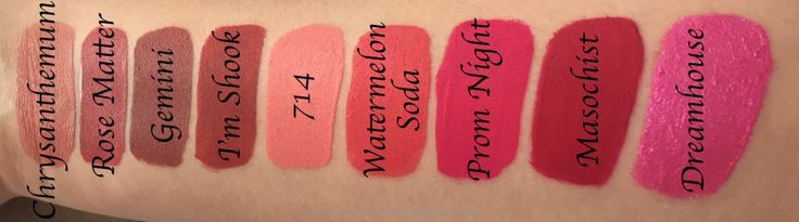 All Jeffree Star Velour Liquid Lipsticks Shades Review, Swatches Chrysanthemum, Rose Matter, Gemini, I'm Shook, 714, Watermelon Soda, Prom Night, Masochist, Dreamhouse
