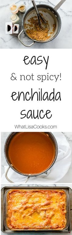 Must try this one! A super easy and not at all spicy homemade enchilada sauce recipe. from @WhatLisaCooks