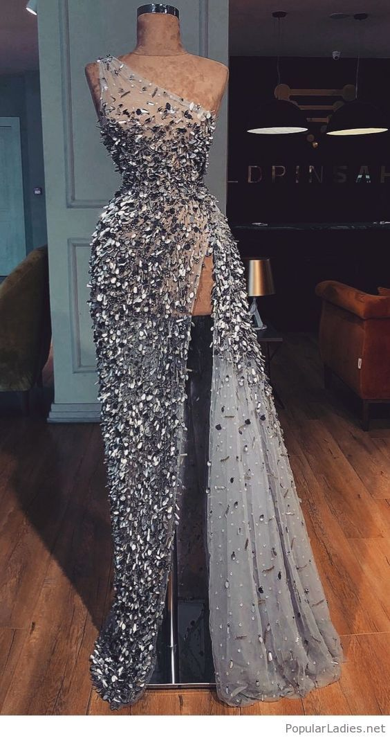 e1e2e426f7f Wonderful long grey glitter dress