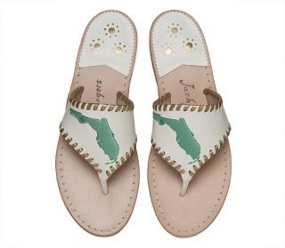 Exclusive Florida Sandal | Embroidered State Sandals | White & Gold Flip Flops
