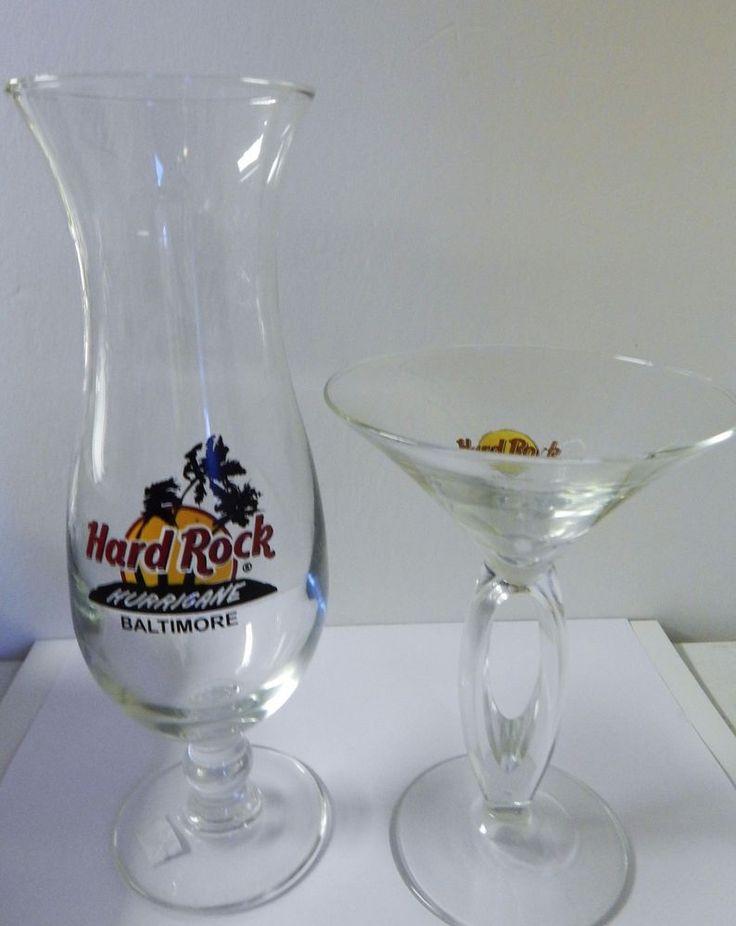2 Hard Rock Cafe Baltimore Glass 1 Split Stem Martini Glass 1 Hurricane Glass