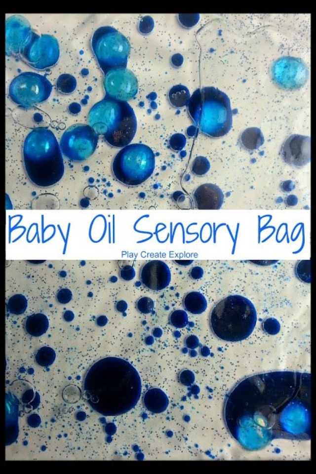 Sensory bag- baby oil and food coloring