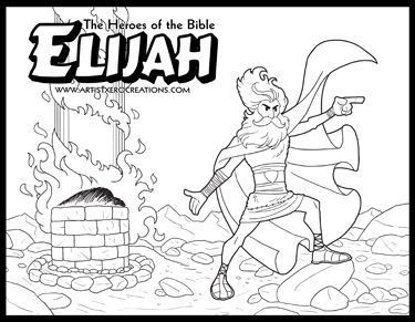 the heroes of the bible coloring pages elijah - Elijah Bible Story Coloring Pages