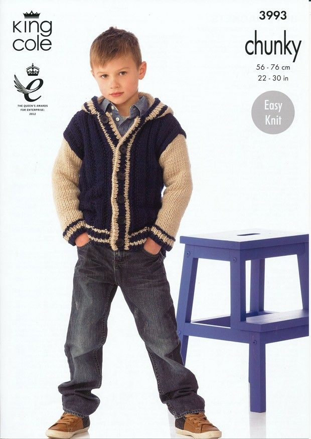 Boy's Jacket in King Cole Comfort Chunky (3993) | Jacket Knitting Patterns | Knitting Patterns | Deramores