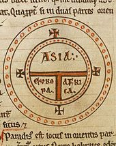 The medieval T-O map represents the inhabited world as described by Isidore in his Etymologiae.
