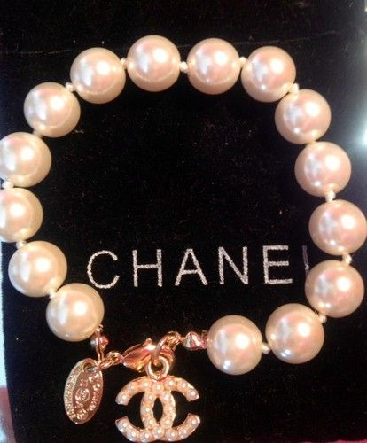 Chanel White Pearls Gold Bracelet