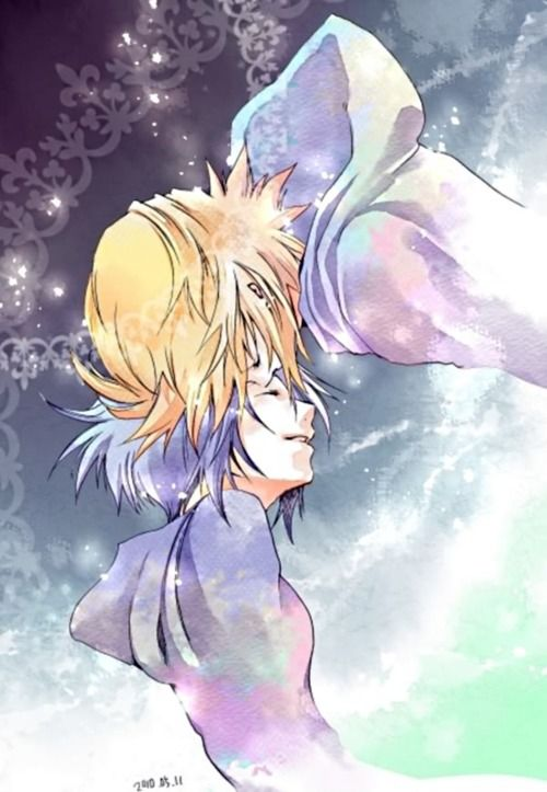Kingdom Hearts Roxas and Xion. I don't really like this pairing personally, but it's a cute picture with a nice art style. :3