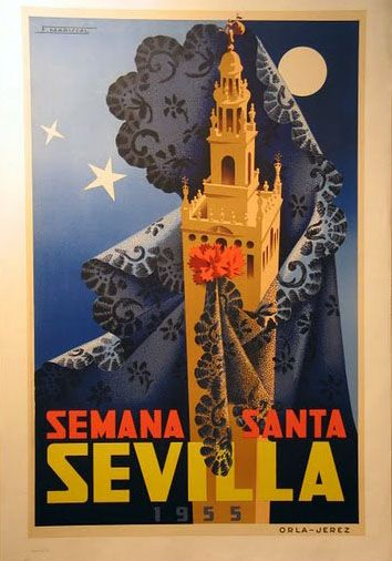 Spain. Sevilla, Semana Santa (Holy Week), 1955 poster