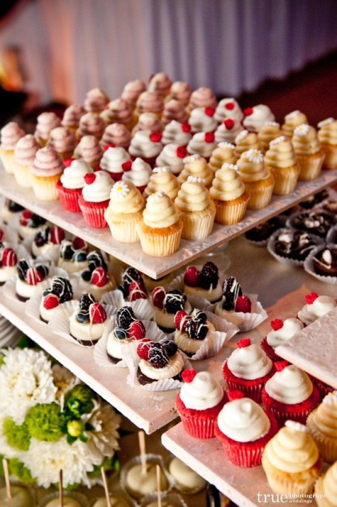 We love the idea of skipping a #weddingcake and going for a super cute, intricate cupcake display! #weddingsMinicupcakes, Ideas, Yummy Desserts, S'Mores Bar, Wedding Cupcakes, Mini Cupcakes, Wedding Desserts, Minis Cupcakes, Desserts Tables