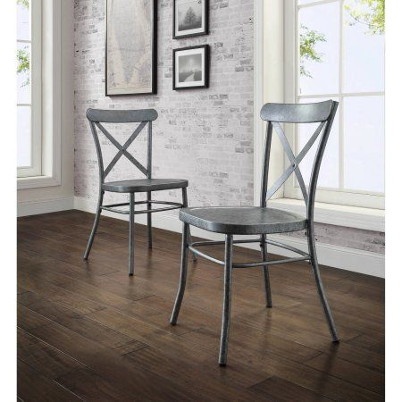 Better Homes and Gardens Collin Galvanized Look Set of 2 Dining Chairs at Walmart.com. So farmhouse chic and only $99!