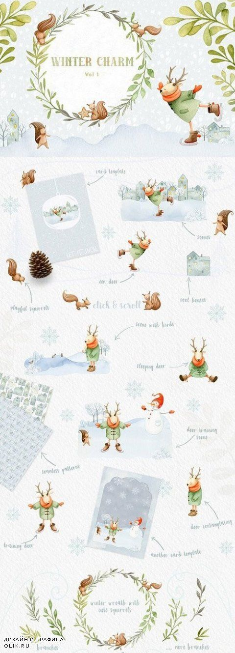 Winter Charm Vol 1 - Watercolor Deer 981332