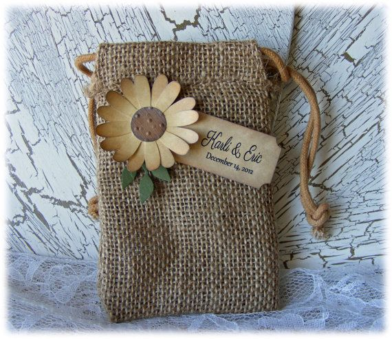 Rustic but elegant burlap wedding or shower favor bags Burlap bag decorating ideas