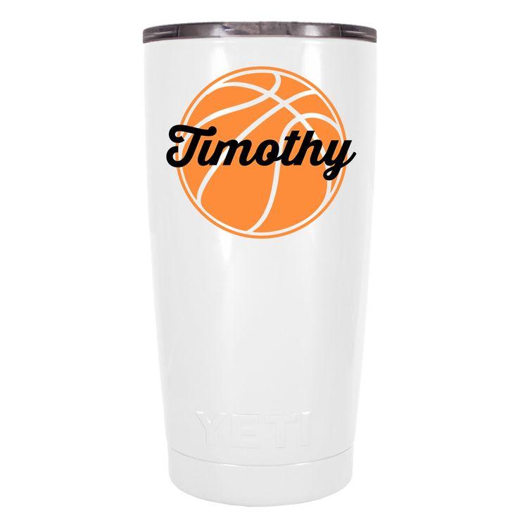 YETI 20 oz Personalized BasketBall on White Tumbler