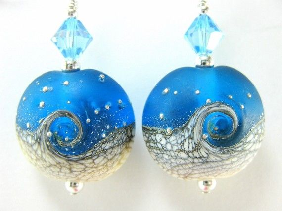 Blue White Glass Bead Earrings Ocean Lampwork by GlassRiverJewelry, $25.00: Summer Earrings, Ocean Earrings, Bead Earrings, Tidal Wave, Lampwork Beads, Glass Beads, Beach Earrings, Wave Lampwork, Ocean Lampwork