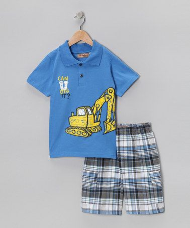 Take a look at this Blue Tractor Polo & Plaid Shorts - Infant, Toddler & Boys by Kids Headquarters on #zulily today!