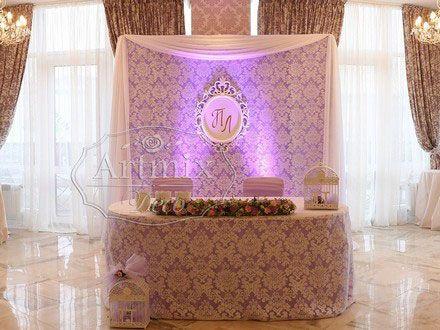 Свадебное оформление президиума во французском стиле. Украшение стола жениха и невесты в ресторане Ля Мур ... кружевная свадьба - оформление кружевом .., свадебные оформления винтажные картинки, оформить свадьбу текстилем в фиолетовом цвете