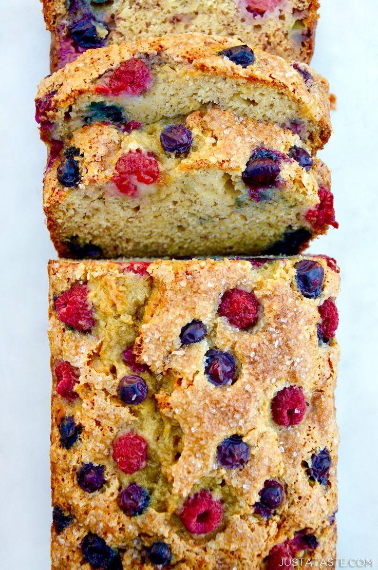 Mixed Berry Banana Bread | recipe via justataste.com #recipe #bananabread