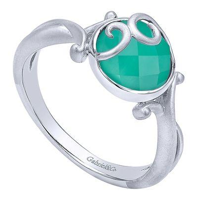 925 Silver Rock Crystal&green Onyx Fashion Ladies' Ring