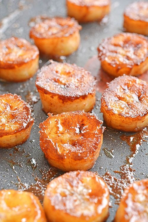 Pan fried cinnamon bananas are make a great topping for ice cream or just as a snack. Soft and sweet on the inside and caramelized on the outside.