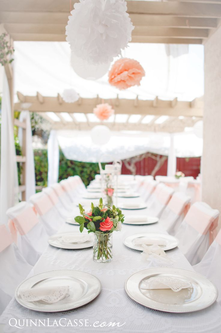 Banquet style reception area. Beautiful, simple, DIY elegance