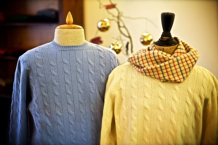 """On the Second day of Christmas my true love sent to me Two Jaunty Jumpers...""  These fine Australian merino wool cable knit jumpers from ""Maglificio Gran Sasso"" in Italy will keep your true love cozy throughout the holiday season."