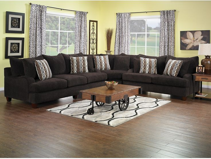 Putty Chenille Sectional   Chocolate | The Brick. Living Room ...