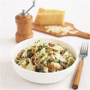 Wild mushroom and walnut pasta. This quick vegetarian pasta dish uses ingredients that make a smart alternative to a jar of pasta sauce.