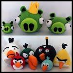 Obsessively Stitching: Angry Birds -- Plush Green, White, Black (and baby pig!) patterns.