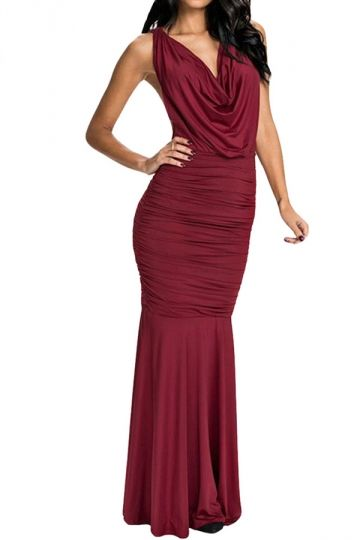 Red Halter Pleated Mermaid Backless Sexy Womens Evening Dress - PINK QUEEN