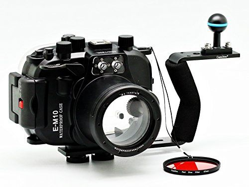CamDive 40m/130ft Waterproof Underwater Camera Housing Diving Kit for Olympus E-M10(14-42mm) | Underwater Housing   CamDive Aluminium Handle   CamDive Red Underwater Filter| *** Click on the image for additional details.