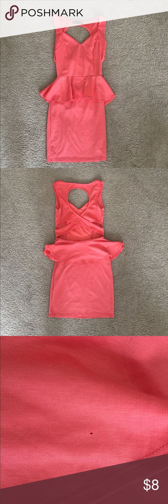 Peach Cross Back Dress Super Comfy Peplum Cross Back Dress Peachy color Size Small Perfect going out dress! Tiny pinhole in peplum on back as seen in photos Body Central Dresses Mini