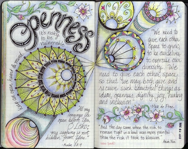 Great ideas for doodled journal pages.