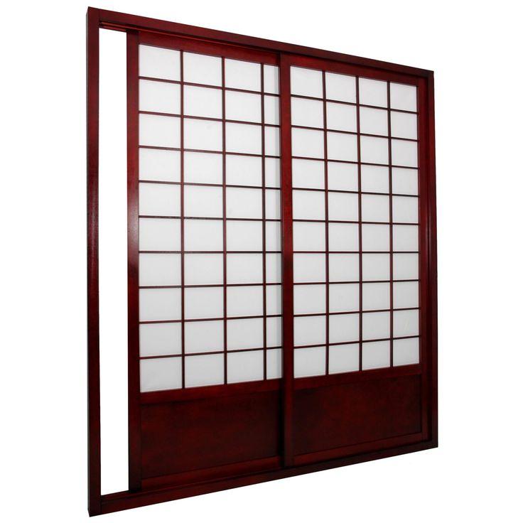 Oriental Furniture Shoji Double Sided Sliding Door Kit Room Divider - SHOJI-DOOR-DBLS-NATURAL