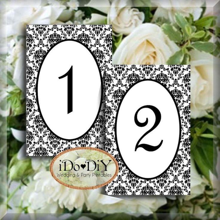 printable wedding place cards vintage%0A Classic Damask Printable Table Numbers   x   Inch