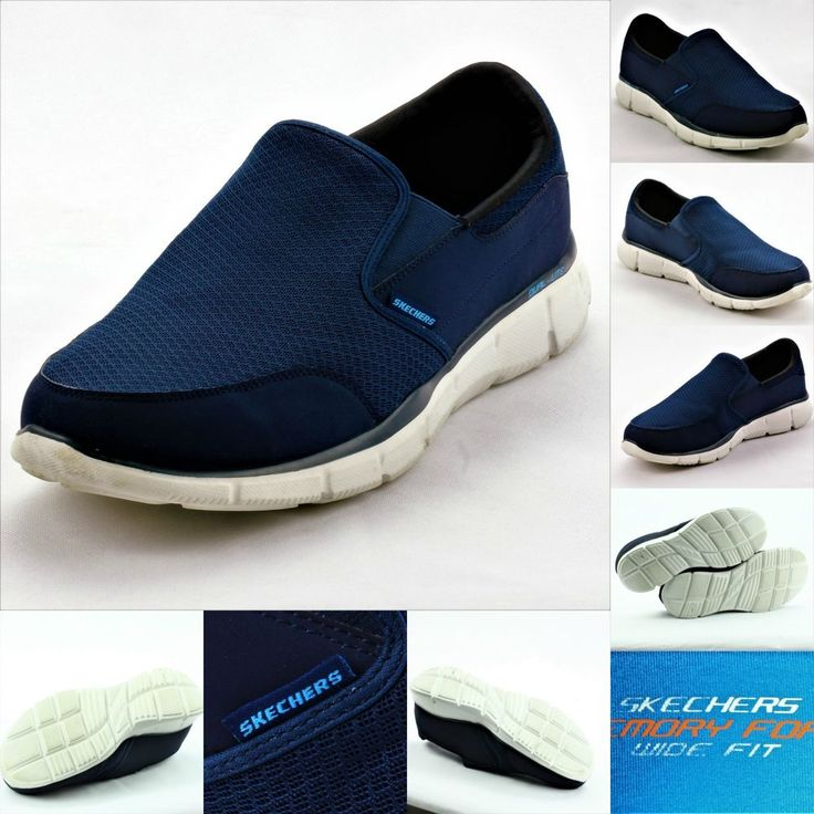 SKECHERS MENS EQUALIZER PERSISTENT TRAINERS WIDE FIT MEMORY FOAM SLIP ON UK 13