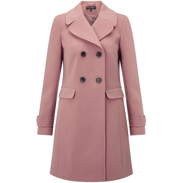 Miss Selfridge Pink Revere Collar Coat (£92) ❤ liked on Polyvore featuring outerwear, coats, pink, red coats, miss selfridge, miss selfridge coat, double-breasted coat and red double breasted coat