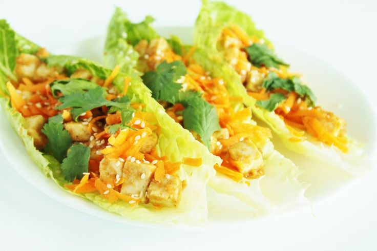 Peanut Sauce Tofu Lettuce Wraps | h e a l t h y f o o d // d r i n k ...