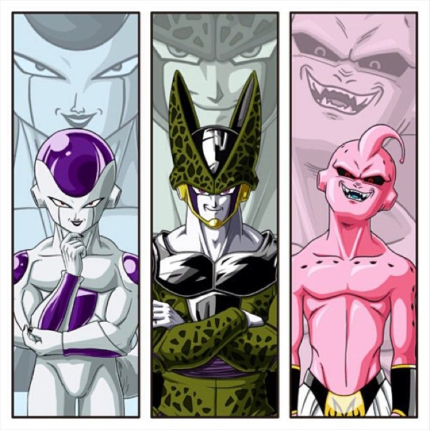DBZ villains // the one who wanted to reach immortality, the one who aimed to obtain perfection, and the one who just plain out destroyed.