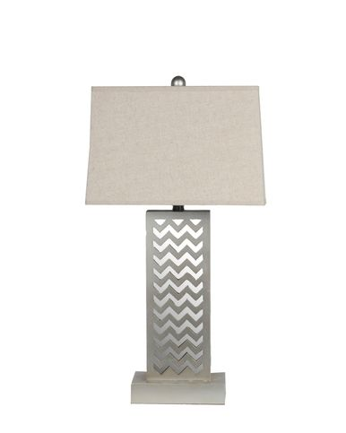 Gray Chevron Mirror Base Wooden Table Lamp 16 3/4 Inches Tall Fabric Shade