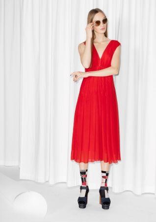 & Other Stories | Silk Viole V-Neck Dress